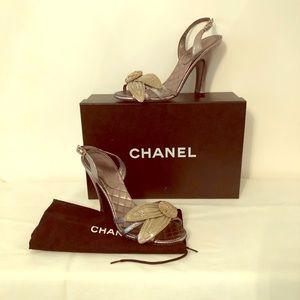 Rare Chanel rhinestone front HH silver sandals